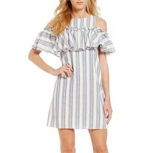 Gianni Bini | cold shoulder striped ruffle dress